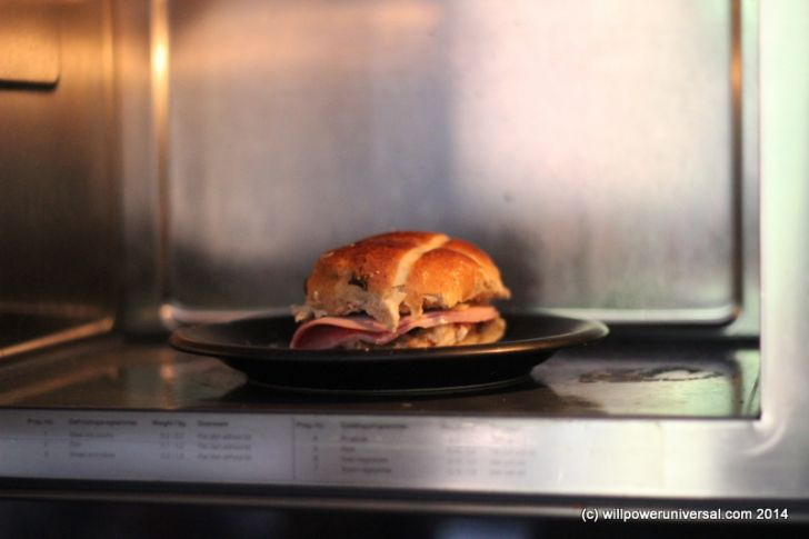 Dutch Currant Bun With Melted Cheese & Ham Microwave Served Image